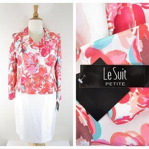NEW Le Suit Petite Pink White Floral Skirt Suit